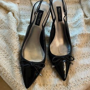"""White House Black Market 3"""" heel black sling back shoes with bow & point toe"""